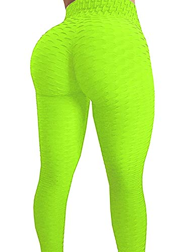 AGROSTE Women's High Waist Yoga Pants Tummy Control Workout Ruched Butt Lifting Stretchy Leggings Textured Booty Thights Green ()