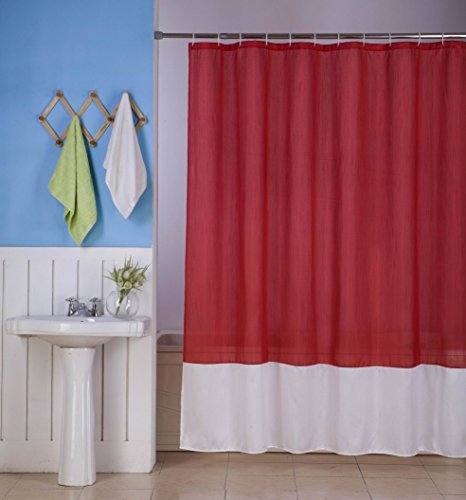 red and white shower curtain - 5