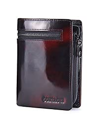 Contacts Genuine Patent Leather Wallet with Zip Coin Pocket Card Holder Snap Closure