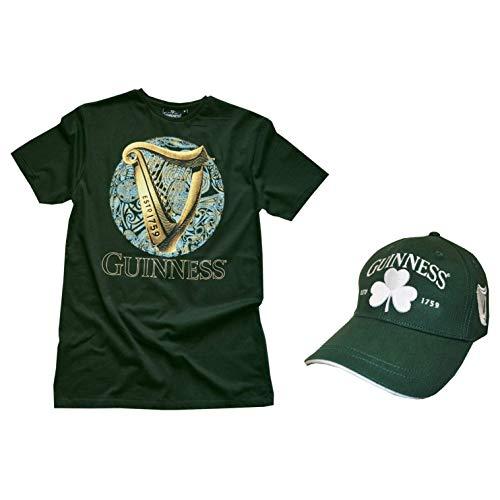 Guinness - Green Harp Celtic Circle T-Shirt & Green & White Shamrock Baseball Hat Combo Pack ()