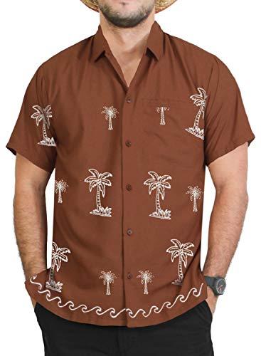 - LA LEELA Rayon Loose Camp Party Collar Shirt Brown 15 XL | Chest 48