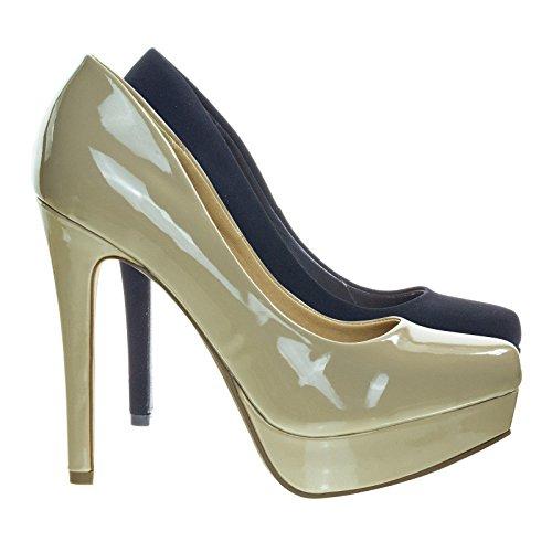 Bomba De Vestido De Plataforma De Tacón Alto, Zapatos De Corte De Oficina De Punta Redonda, Patente De Color Beige Oscuro