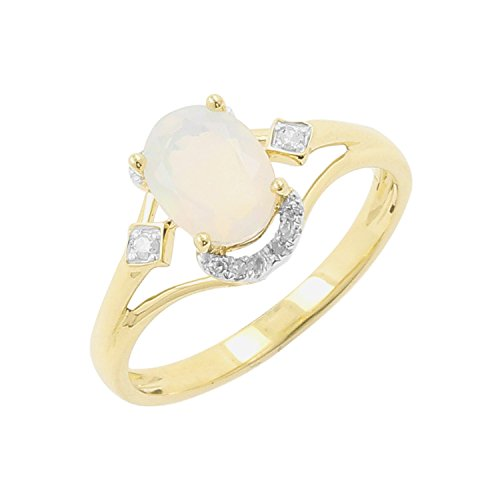 10kt Yellow Gold Ethiopian Opal and Diamond Accent Fashion Ring, Size-7 by Isha Luxe-Gemstone Collection (Image #1)