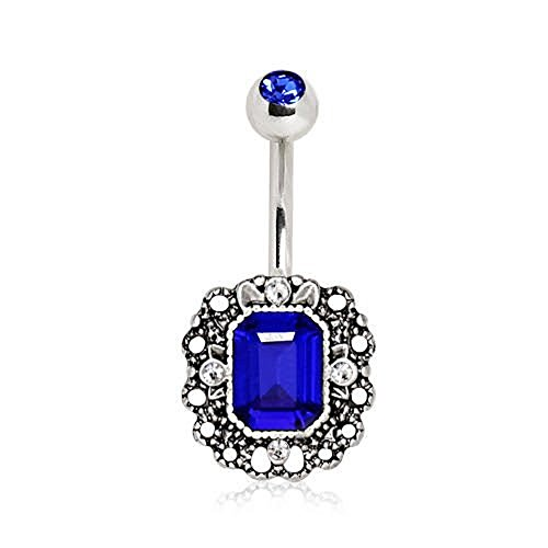 Blue Sapphire Belly Button Ring - 316L Stainless Steel Radiant Cut Sapphire Blue CZ Ornate WildKlass Navel Ring