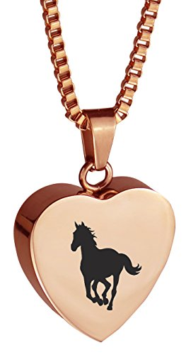 Gold Horse Heart - Rose Gold Horse Heart Pendant Necklace Memorial Ash Keepsake Cremation Jewelry