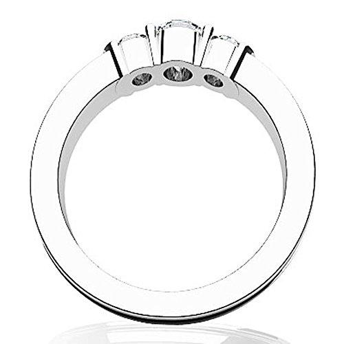 14K Or blanc strié Band Triple en diamant