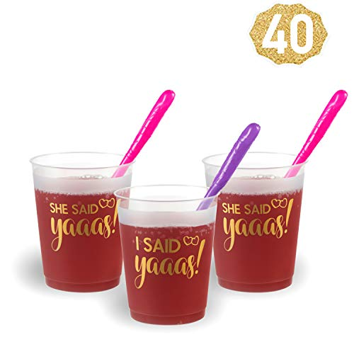 Price comparison product image Bachelorette Party Decorations - She Said Yes Bachelorette Party Cups - 20 Count (16 Oz.) + 20 Bride to be Straws   Bridal Shower Decoration and Bachelorette Party Supplies