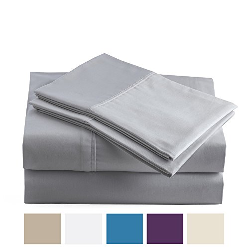 - Peru Pima - 285 Thread Count - 100% Peruvian Pima Cotton - Percale - Bed Sheet Set (Twin, Slate)