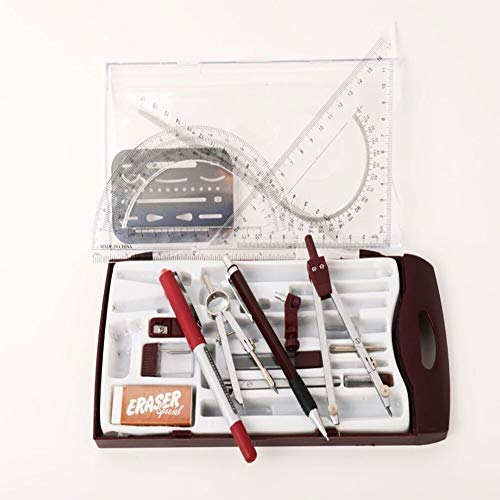 Drawing Tools & Kits 20Pc Geometry Set Aluminum Compass,Protractors,Set Square,Ball Pen,Bow-Pen,Erasing Shield etc.for Basic Beginner Engineers and Students.Size:10x4.6x1 inches N.W:10.5 Ounces