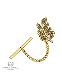 Sprig Acacia Tie Pin Tack Masonic Revival (Antique Gold)
