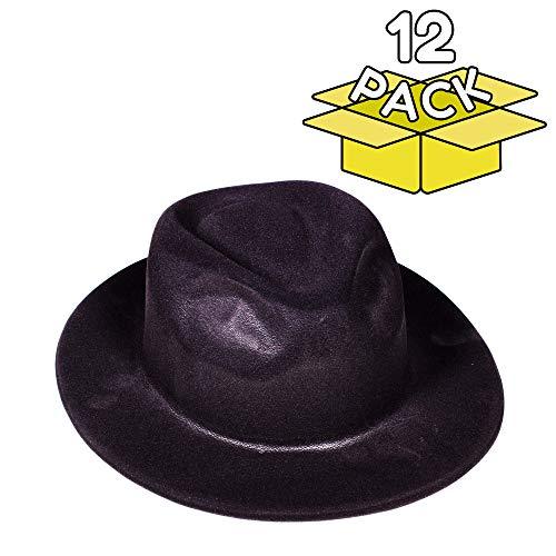 Windy City Novelties Gangster Hat Fedoras (Black Velour), Pack of 12 -