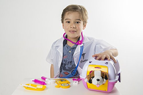 Infant Stuffy Costume (Deluxe Vet kit Pet Care Play Set for Kids PINK - 11 Pieces with Lab Coat - Pretend Play Pet Vet Set for kids boys and girls)