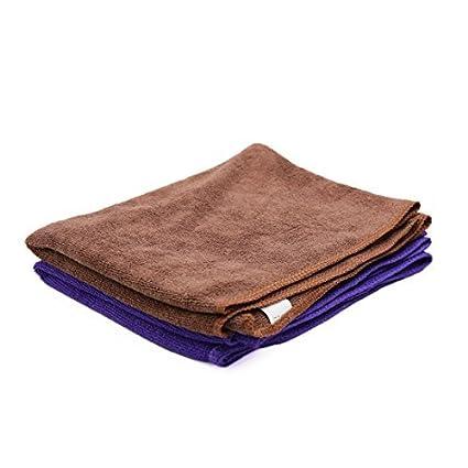 eDealMax 2pcs púrpura del café del coche del Color Pulido paño de limpieza de Lavado de