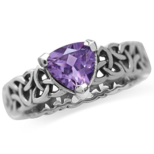 Trillion Shape Amethyst 925 Sterling Silver Triquetra Celtic Knot Eternity Antique Finish Ring Size 6