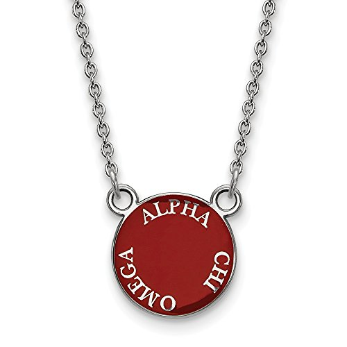 Jewel Tie 925 Sterling Silver Alpha Chi Omega Small Enl Pendant with Necklace (12mm)