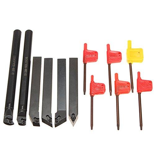 Hitommy 6Pcs 12mm Shank Lathe Indexable Boring Bar Turning Tool Holder Set