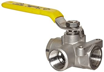 Apollo 76-600 Series Stainless Steel Ball Valve, Two Piece, 3-Port Diverting, Lever, NPT Female