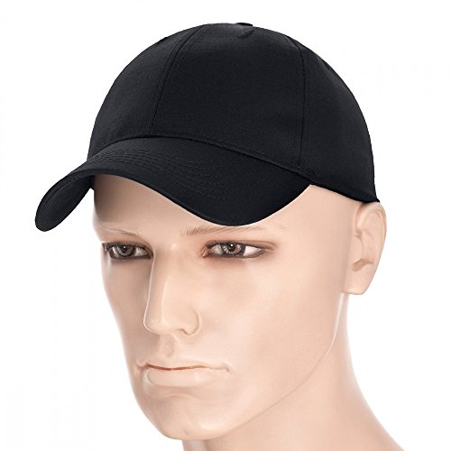 Uniform Cap Hat - М-Tac Plain Baseball Cap Mens Hat Ripstop Cotton Adjustable (Black, Medium)
