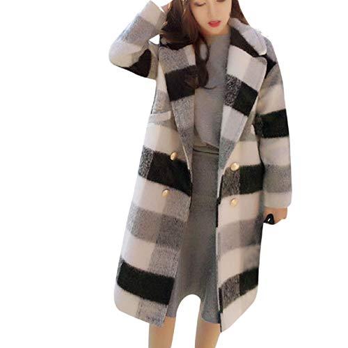 Reokoou Women's Long Sleeve Lapel Plaid Wool Nizi Long Jacket Tops Coat