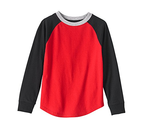 Mix & Match Boys 2-7 Long Sleeve Solid Raglan Tee Red And Black S - Red Black Mix And