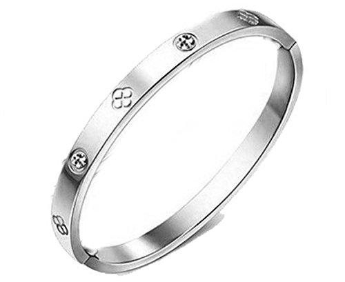 findout Damen 14K Roségold vergoldet Titan Stahl Ewigkeit Ring Armband, Frauen Mädchen, (f1393) (silver)