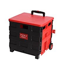 Transport trolley foldable Shopping trolley cart Folding box Transport cart Shopping trolley Folding box Aluminum plastic (Black red,Yellow)