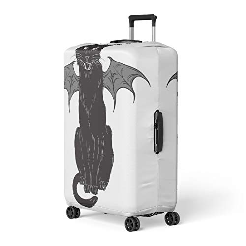 Semtomn Luggage Cover Creepy Black Cat Monster Wings