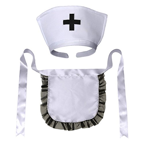 Nurse Hat Headband & Apron Costume Set (STC12192) ~ Halloween Accessory White