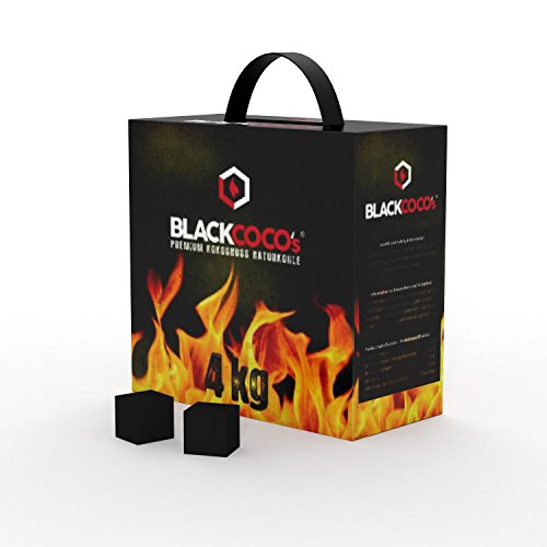 BLACKCOCO's – 4 KG Premium Shisha Kohle Naturkohle Kokosnuss und BBQ – Hochwertige Kokos Coal Briketts für Wasserpfeife…