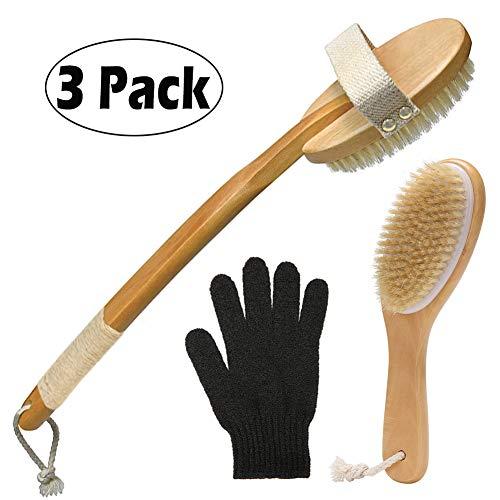 3 pack Premium Dry Brushing Body Brush Set - for Dry Skin Brushing & Plastic-Free Natural Exfoliating Brush Set with Scrub Gloves, with Long Handle kit, Back Brush Scrubber, Bath & Shower Brush, Face