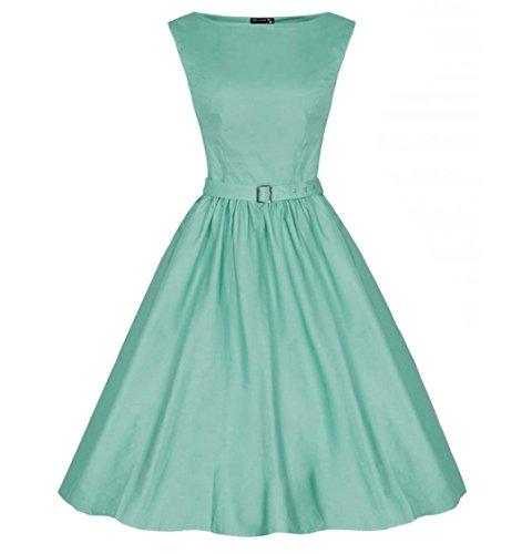 DAROJ Women Classy Audrey Hepburn Style 1950's Sleeveless Vintage Dresses (Light Green) (Vintage Light Green)