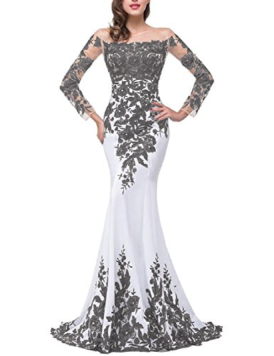 OYISHA Womens Lace Applique Evening Dress with Long Sleeves Long Mermaid Wedding Celebrity Gown EV122 White & Gray 12