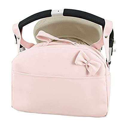 Bolso carro bebe Polipiel bandolera maternal. Color rosa