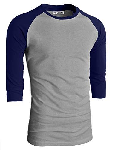 - TOP LEGGING TL Men's Basic Crew Neck Cotton 3/4 Sleeve Essentail Raglan Baseball Tee Shirts BLTG_SNAVY-L
