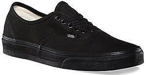 Vans Unisex Authentic Solid Canvas Skateboard Sneakers (40.5 M EU / 8 D(M) US, Black / Black)