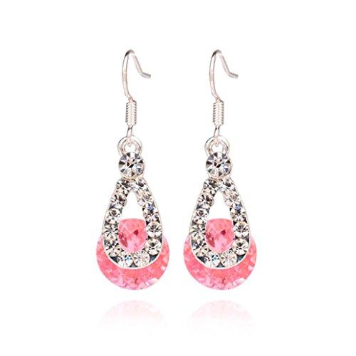 Dangle Earring, Shybuy Women Fashion Crystal Pendant Earring Brilliant Drop Dangle Earrings for Party Evening (Pink)