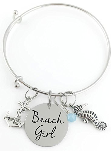 Personalized Bangle - Beach Girl - Anchor, Seahorse and Crystal - Custom Jewelry