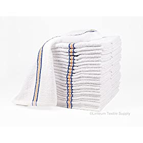 Linteum Textile Strong & Durable Cotton Bar Towels Super MOPS Kitchen Towels 16×19 in. 60-Pack (5 Dozen) Triple Stripe