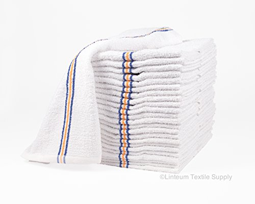 Linteum Textile Strong & Durable Cotton Bar Towels Super MOPS Kitchen Towels 16x19 in. 60-Pack (5 Dozen) Triple Stripe