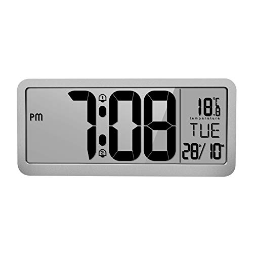 Qualilty Battery Powered Digital Wall Clock with 2 Alarm Settings, Adjustable Volume, Large LCD Screen Display Time, Date, Weekday and Temperature