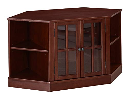 Tv Small Cabinets - Ravenna Home Westly Corner Glass Cabinet Storage TV Media Entertainment Stand, 52