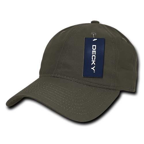 (DECKY Low Crown Relaxed Rip Stop Cap, Olive Drab)