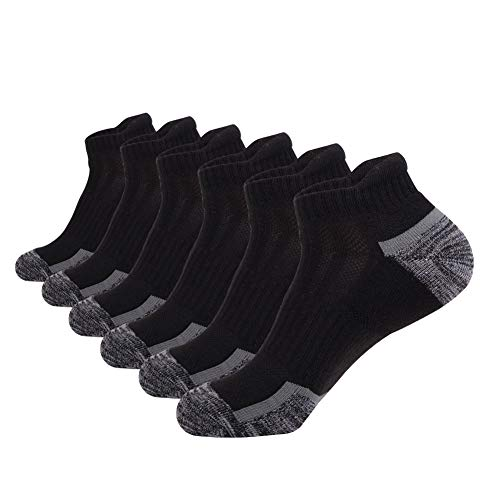 Mens Ankle Athletic Low Cut Socks With Comfort Cushion for Running Tab Sock 6Pack,Socks Size:10-13,6Black