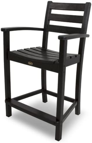 Trex Outdoor Furniture Monterey Bay Counter Arm Chair, Charcoal Black
