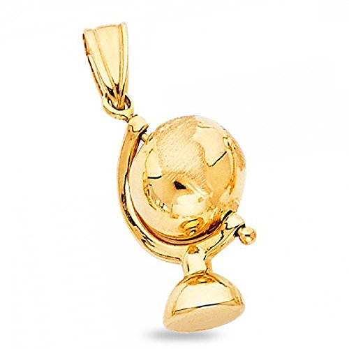 (Solid 14k Yellow Gold Globe Pendant World Earth Charm Polished Quality Genuine 20 x 10)