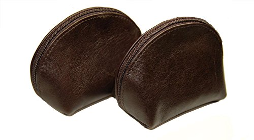 Castello Chocolate Brown Italian Soft Leather Coin Pouch (SET of 2)