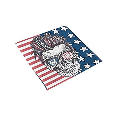 Bardic HNTGHX Outdoor/Indoor Chair Cushion Vintage US Flag Skull Square Memory Foam Seat Pads Cushion for Patio Dining, 16