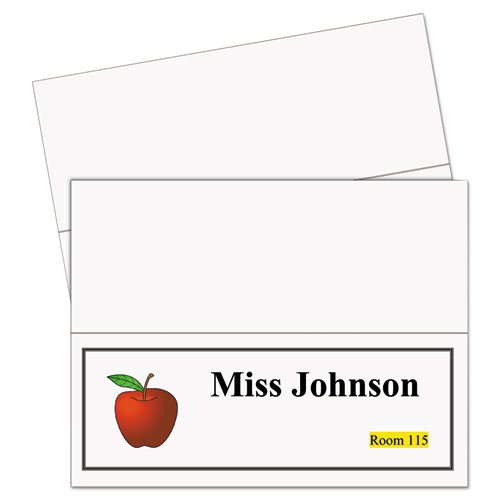(Printer-Ready Name Tent Cards, 4-1/4 x 11, White Cardstock, 50 Letter Sheets/Box, Sold as 50 Each)