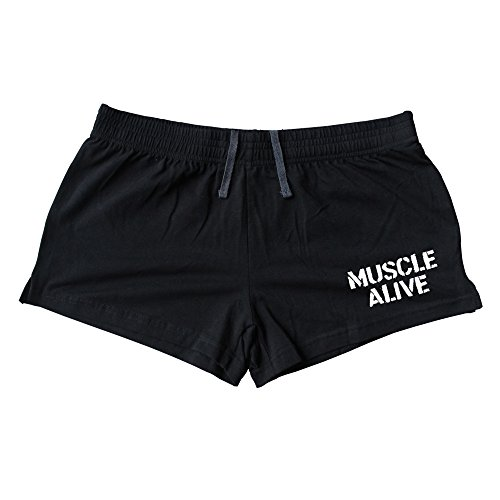 muscle-alive-mens-bodybuilding-shorts-3-inseam-cotton-size-m-black