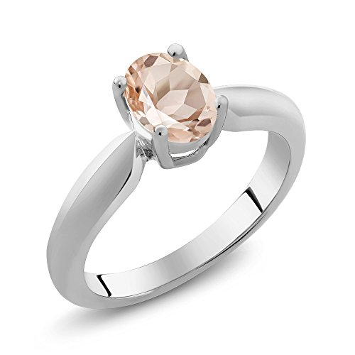 0.65 Ct Oval Peach Morganite 925 Sterling Silver Women's Solitaire Ring (Available in size 5, 6, 7, 8, - Oval Peach